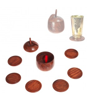 6 Posavasos Madera - Funda Manzana - 7 cm