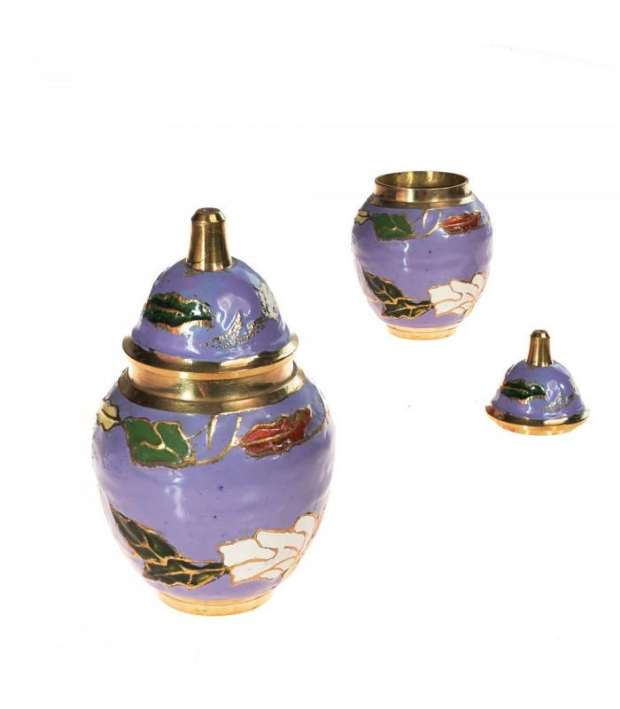 Bombonera Miniatura Bronce - Diseño Floral - 7 cm