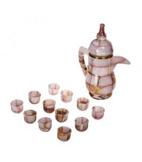 Conjunto Tetera Onix y 12 Vasos  -Decorativo- 24 cm