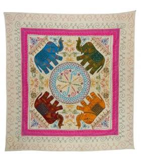 Inde éléphants Tissu - Broderie couleurs - 230 x 220