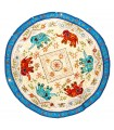 Rug round decoration - design elephants - cotton - 150 cm