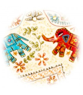 Tapete Decoracion Redondo - Diseño Elefantes - Algodon - 150 cm