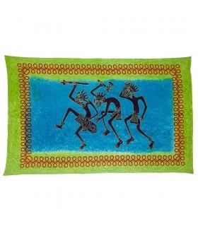 Tessuto cotone-India - tribù guerriero - artigiano-210 x 140 cm