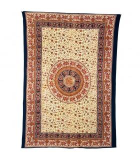 Índia-Cotton Elefante Pecock Flora-Fabric-Artisan-140 x 210 cm