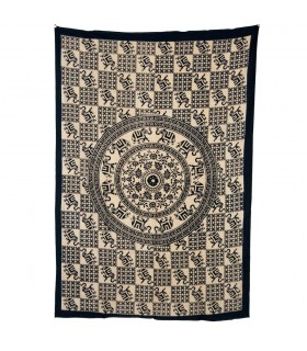Tela Algodon-India- Mosaico Elefantes Redondo-Artesana-210x140cm