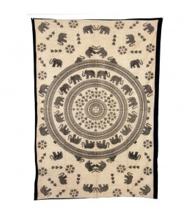 Stoff Baumwolle-Indien - Elefanten Amor-Artesana - 210x140cm