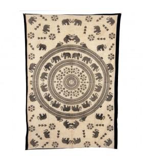 Inde-Cotton- Mosaic Elefant Amour-Artisan-210 x 140 cm