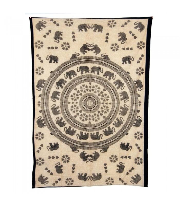India-Cotton- Mosaic Love Elephant-Artisan-210 x 140 cm