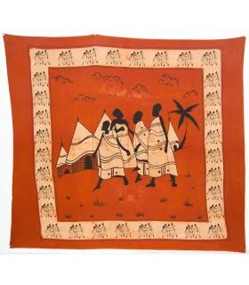 Stoff Baumwolle-Indien - Stamm Dorf - Handwerker-210 x 245 cm