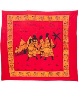 Ткань хлопок Индия - деревня племени - ремесленника-210 x 245 см