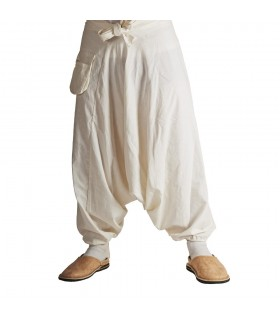 Harem man - white cotton - one size - Pocket
