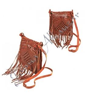 Franjas Bolsa Couro - Handmade - 2 Cores - 3 bolsos Qualidade