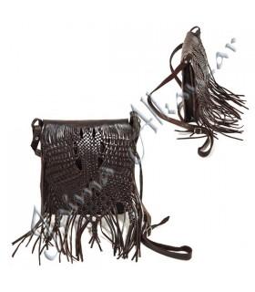 Sac en cuir à franges - Handmade - 2 couleurs - 3 poches-Qualité