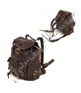 Backpack leather - covered interior - 2 colors - 30 cm
