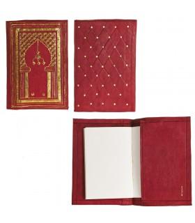 Fodera in pelle per libro o libro - rosso e oro - 25 cm