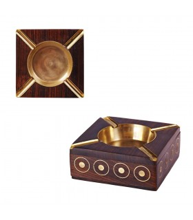 Wood with Inlaid Brass Ashtray - 10 cm