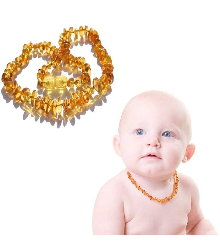 Necklace amber Natural 100% - growing teeth baby