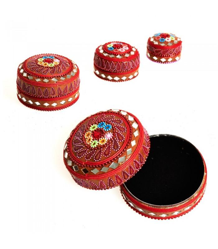 Juego 3 Cajitas Brillantes Purpurina Floral-Terciopelo - Colores