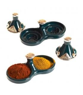 Doppel Mini Tajin Einkaufsmöglichkeit dekoriert - verschiedene Farben - Höhe: 7,5 cm