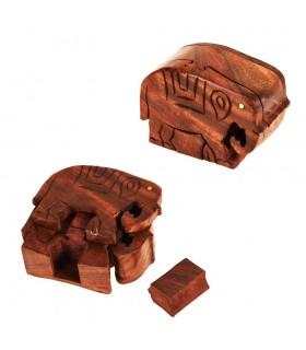 Caja Puzzle Elefante Madera - Compartimento Secreto - 11,5 cm