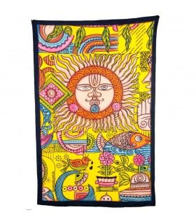 Tessuto di cotone India - sole e paesaggio - artigiano-240 x 210 cm