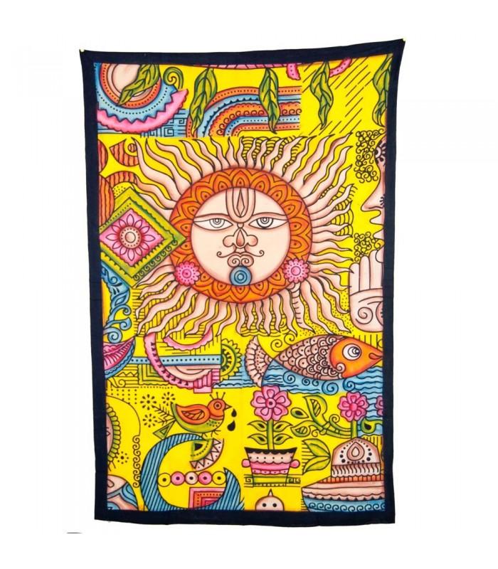 Tela Algodon India- Sol y Paisaje -Artesana-240 x 210 cm