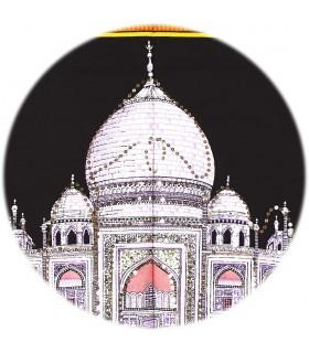Stoff Baumwolle Indien - Moschee Taj Mahal - Pailletten-177 x 115 cm.