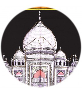 Tela Algodon India- Mezquita Taj Mahal -Lentejuelas-177 x 115cm.