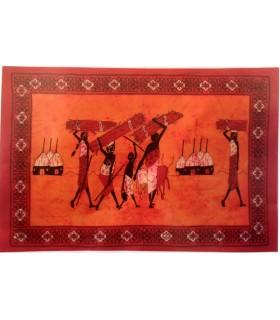 Tela Algodon India-Tribu Leñadores-Artesana-140 x 210 cm