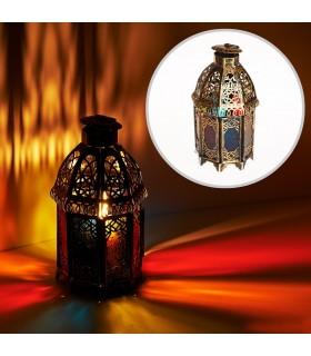 Lanterna invecchiato-ottagonale-cristalli-multicolore - cm 19
