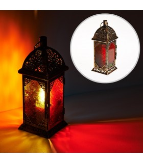 Lantern aged-rectangle - Multicolor glass - 26 cm