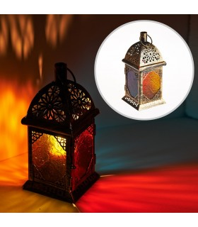 Lanterna retangular de idosos - vidro Multicolor - 22 cm