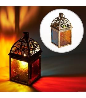 Lanterna retangular de idosos - vidro Multicolor - 19 cm