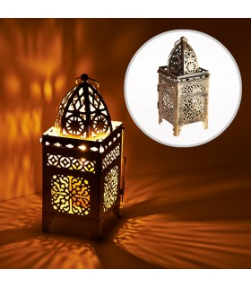 Lantern aged-rectangle-latticed openwork - 21 cm