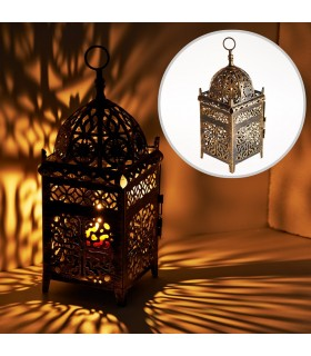 Lantern aged-rectangle-latticed openwork - 35 cm