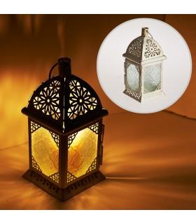 Lanterna envelhecida-branco-Rectangulo-cristal-Trasnparente-21 cm