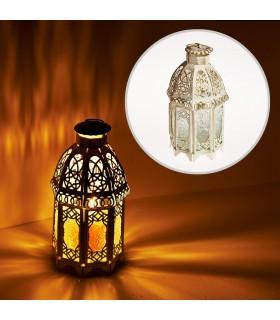 Lanterna envelhecida-branco-octogonal-vidro-Trasnparente - 19 cm