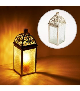 Lantern aged-white-rectangle-latticed openwork-24 cm