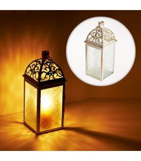 Lanterna ornata invecchiato-bianco-rettangolo trafori-24 cm