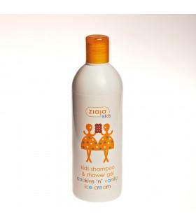 Gel e shampoo para crianças - biscoitos e baunilha - 400ml de creme de gelo