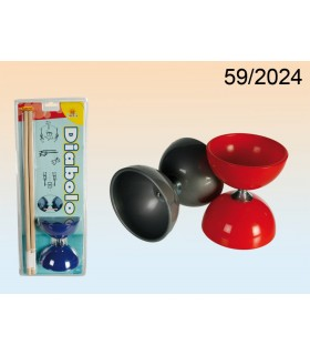 Diabolo - jonglerie - 3 couleurs - axe métal - bâtonnets de bois