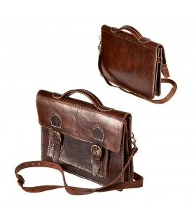 Handmade Leather Briefcase - 4 bays - double close buckle
