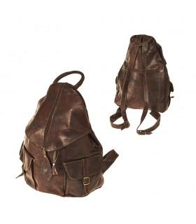 Ручной работы кожаный рюкзак - 2 кармана - модель оболочки