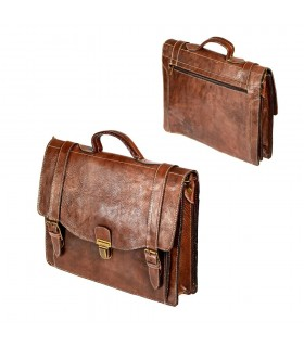 Handmade Leather Briefcase - 6 compartments - close security