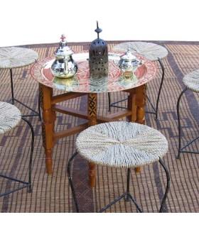 Tavolo ottone per tè - gamba legno pieghevole - da 40 cm