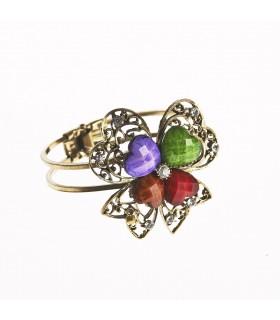 Brazalete- DiseñoTrébol -Decorado Piedras- Varios Colores