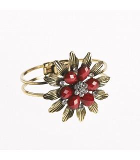 Bracelet - fleur design - décoré de pierres - différentes couleurs