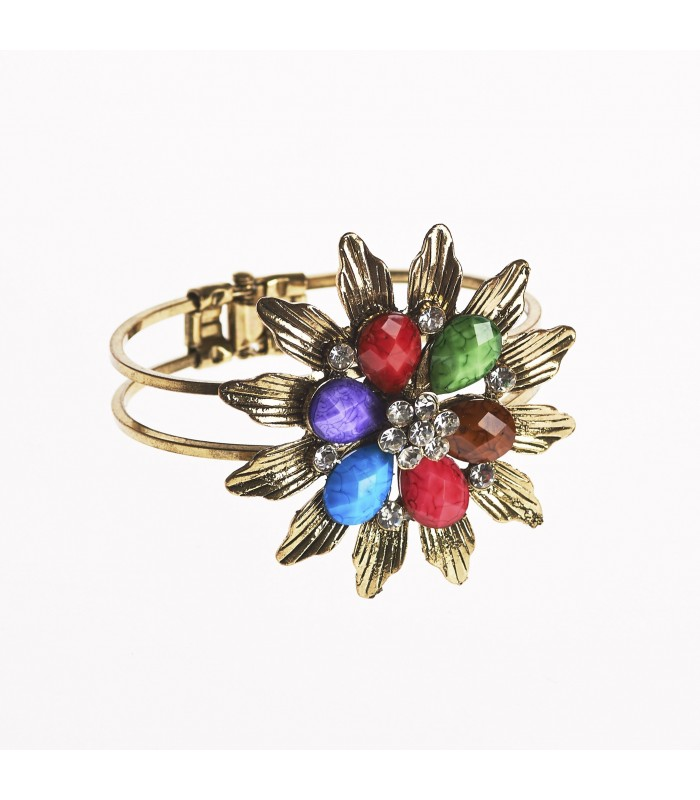 Bracelet - design flower - decorated stones - various colors
