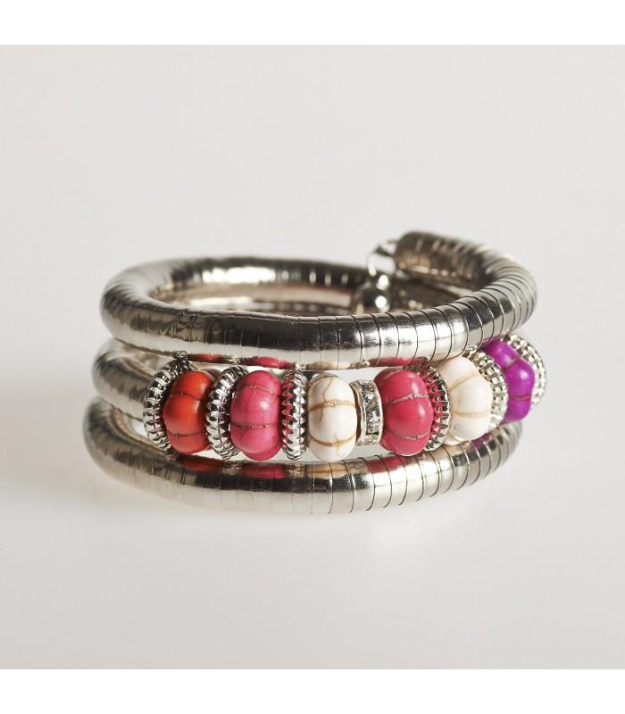 Spiral bracelet silver - pebbles, various colors