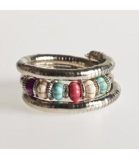 Argento Bracciale di spirale - ciottoli, vari colori